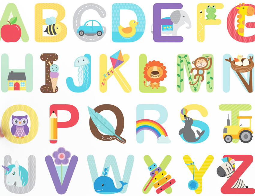 ABC Learn The Alphabet Educational Wall Stickers Baby